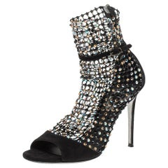 Rene Caovilla Black Suede And Mesh Crystal Embellished Galaxia Sandals Size 37