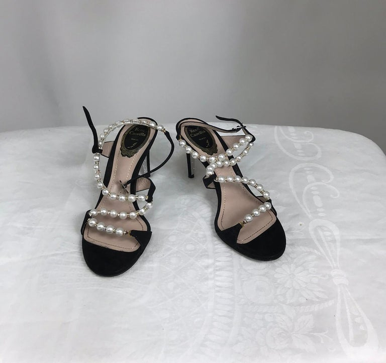 Rene Caovilla Black Wendy Pearl Rhinestone Suede Ankle Strap High Heels 36 1/2 In Excellent Condition For Sale In West Palm Beach, FL