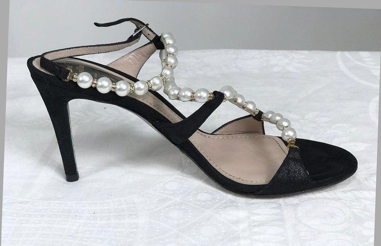 Women's Rene Caovilla Black Wendy Pearl Rhinestone Suede Ankle Strap High Heels 36 1/2 For Sale