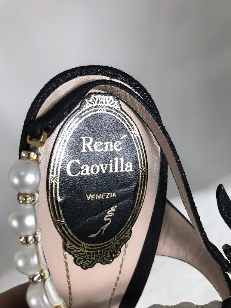 Rene Caovilla Black Wendy Pearl Rhinestone Suede Ankle Strap High Heels 36 1/2 For Sale 1