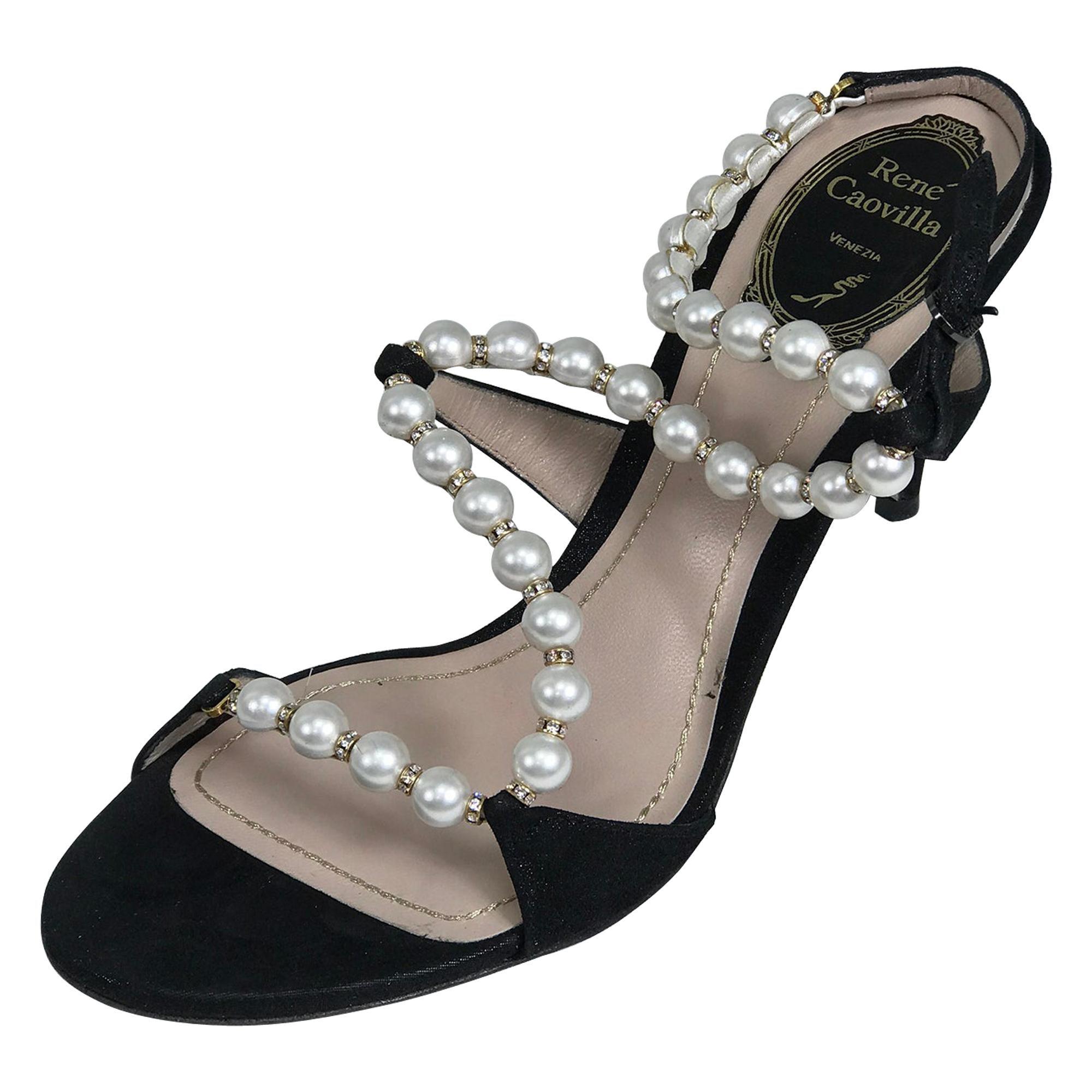 Rene Caovilla Black Wendy Pearl Rhinestone Suede Ankle Strap High Heels 36 1/2