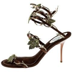 René Caovilla Brown Satin Crystal  Vine Ankle Wrap Open Toe Sandals Size 38.5
