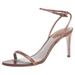 René Caovilla Brown Satin Ellabrita Crystal Embellished Strap Sandals Size 38