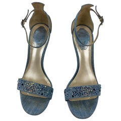 Rene Caovilla Embellished Denim Strappy Sandals Heels , Size 38/ 8