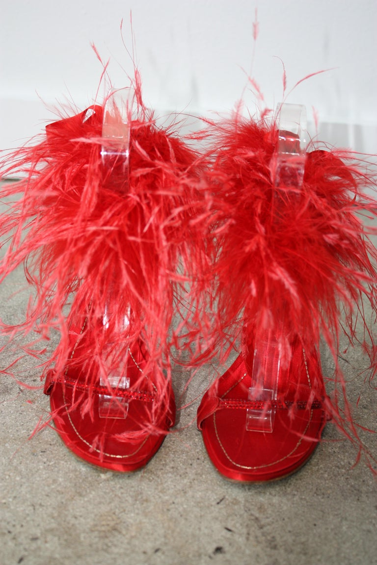 Red Rene Caovilla RED Satin and Feather Heels Size 37.5 For Sale