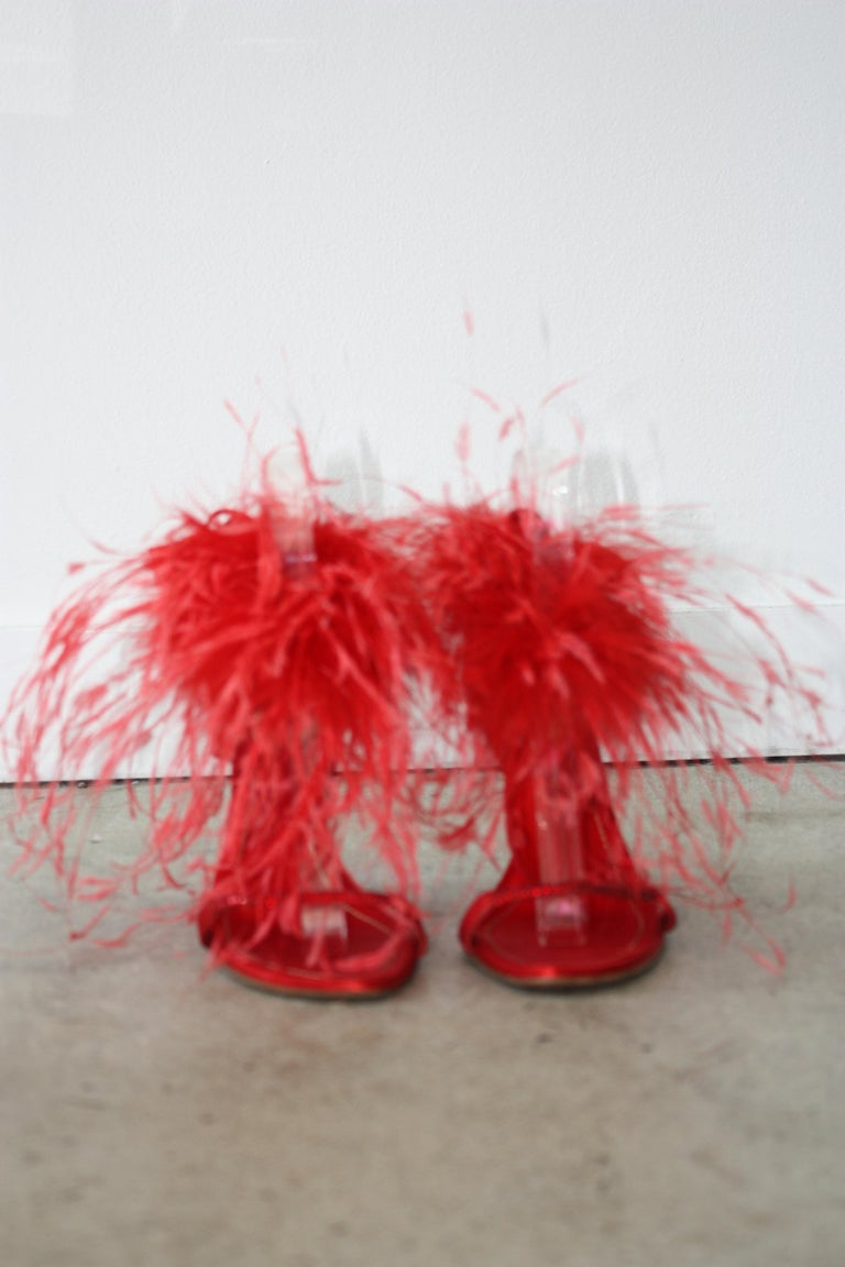 Rene Caovilla RED Satin and Feather Heels Size 37.5 In Excellent Condition For Sale In Los Angeles, CA