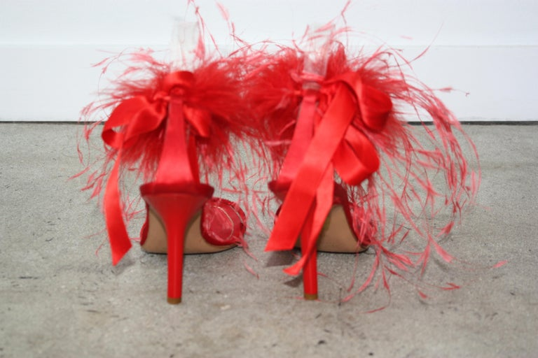Women's Rene Caovilla RED Satin and Feather Heels Size 37.5 For Sale