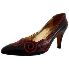 René Caovilla for Valentino Garavani Red and Black Heels. Size 10