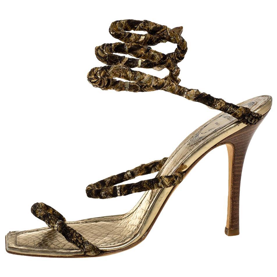 René Caovilla Gold/Brown Crystal Embellishment Cleo Spiral Sandals Size 40