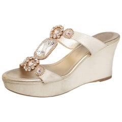 Rene Caovilla Gold Glitter Nubuck Wedge Platform Slide Sandals Size 37