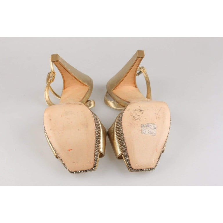 René Caovilla Gold Sandals Heels Shoes with Crystals Size 36 IT For Sale 5