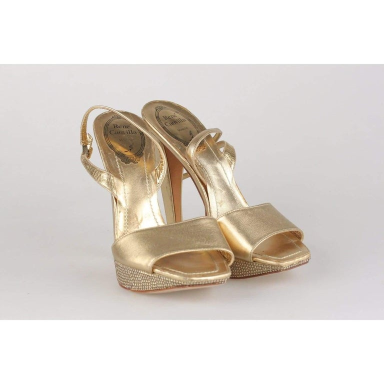 René Caovilla Gold Sandals Heels Shoes with Crystals Size 36 IT In Excellent Condition For Sale In Rome, Rome