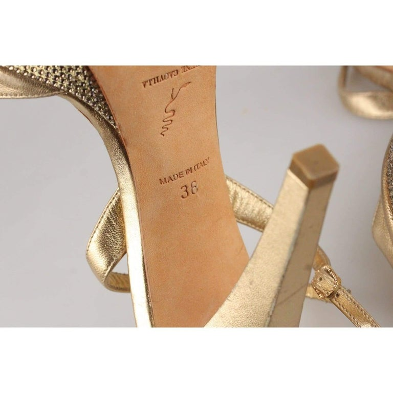 René Caovilla Gold Sandals Heels Shoes with Crystals Size 36 IT For Sale 1