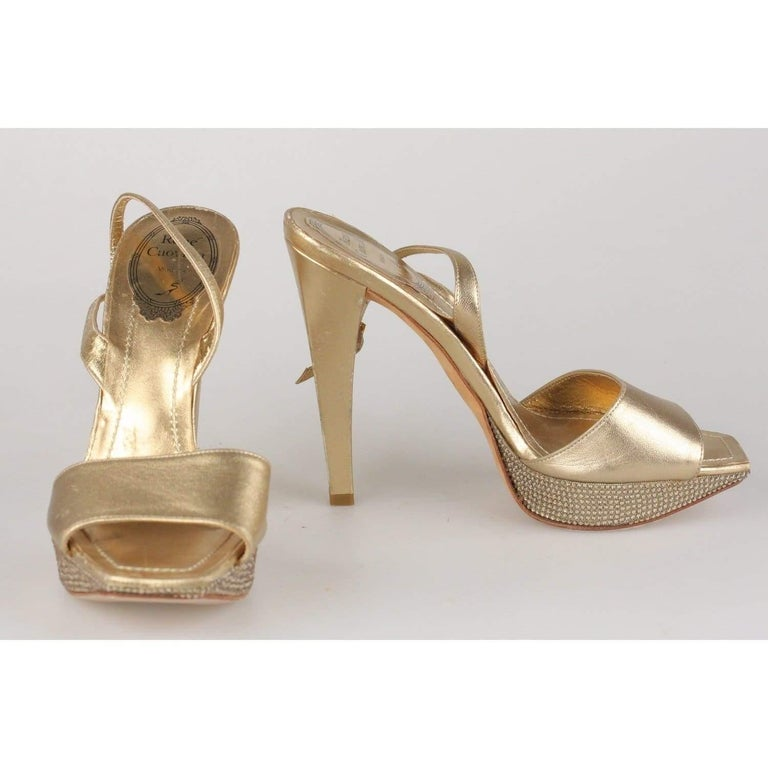 René Caovilla Gold Sandals Heels Shoes with Crystals Size 36 IT For Sale 2