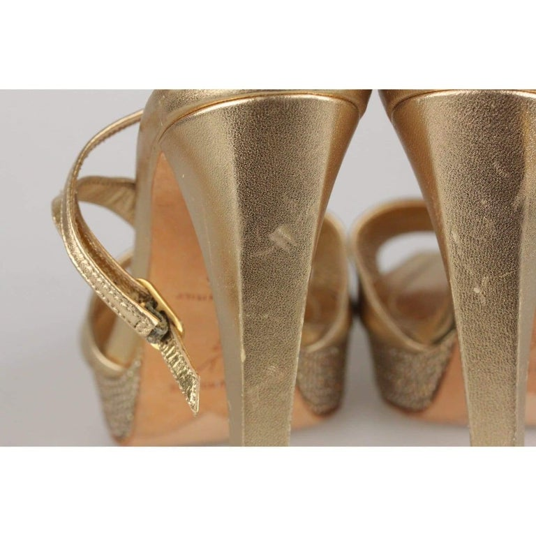 René Caovilla Gold Sandals Heels Shoes with Crystals Size 36 IT For Sale 3