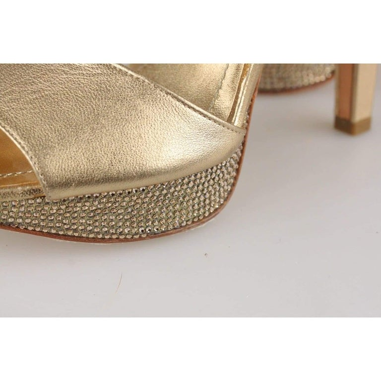 René Caovilla Gold Sandals Heels Shoes with Crystals Size 36 IT For Sale 4