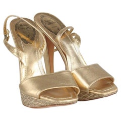 René Caovilla Gold Sandals Heels Shoes with Crystals Size 36 IT