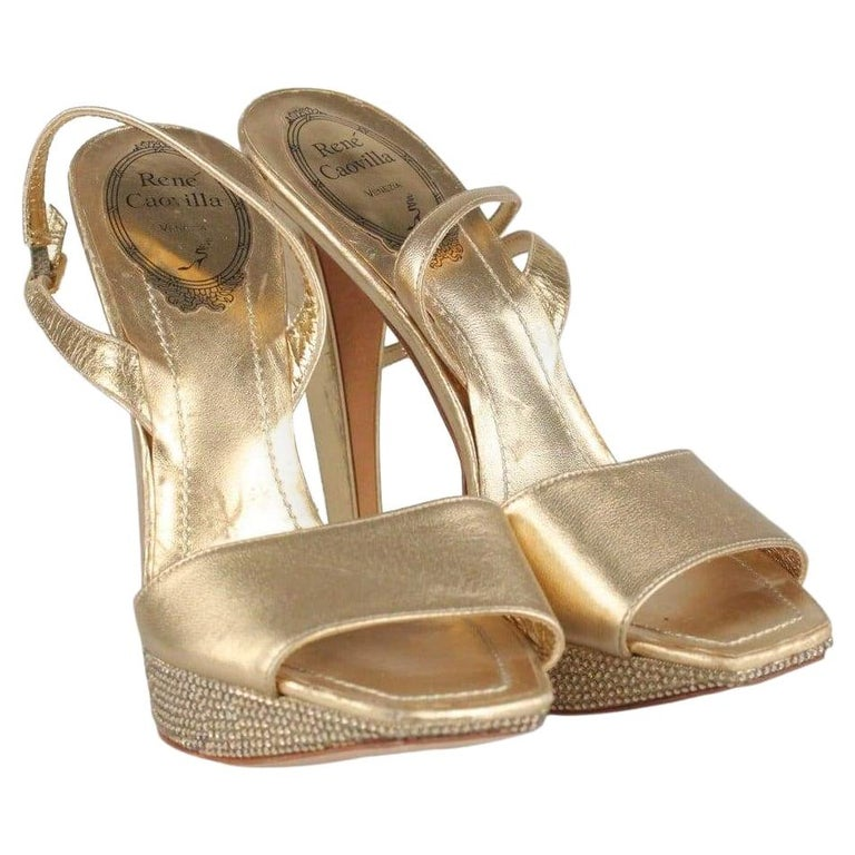 René Caovilla Gold Sandals Heels Shoes with Crystals Size 36 IT For Sale