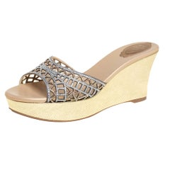 Rene Caovilla Gold Suede Crystal Embellished Slide Sandals Size 40