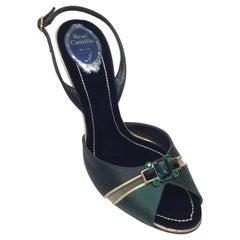 Rene Caovilla Green/Black/Gold Silk Sandal w/ Stones-39.5