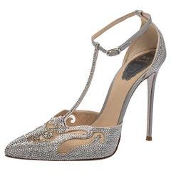 René Caovilla Grey Leather And Mesh Embellishment T Strap Pumps Size 39