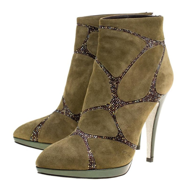 Beige René Caovilla Khaki Green Suede Crystal Embellished Boots Size 39 For Sale