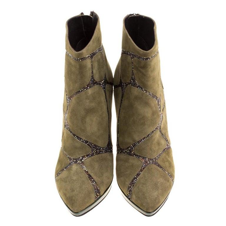 René Caovilla Khaki Green Suede Crystal Embellished Boots Size 39 In New Condition For Sale In Dubai, Al Qouz 2