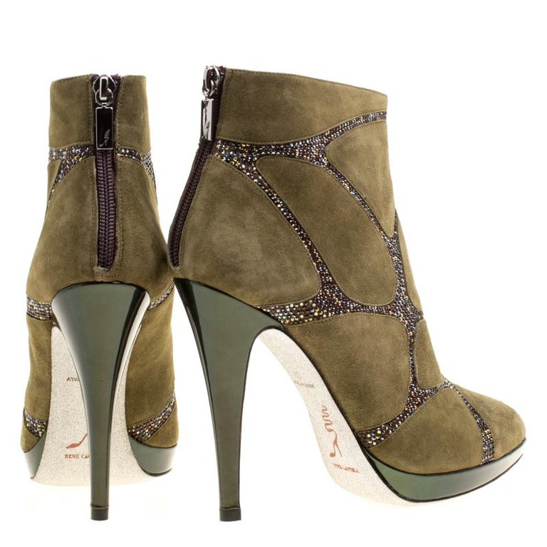 René Caovilla Khaki Green Suede Crystal Embellished Boots Size 39 For Sale 1