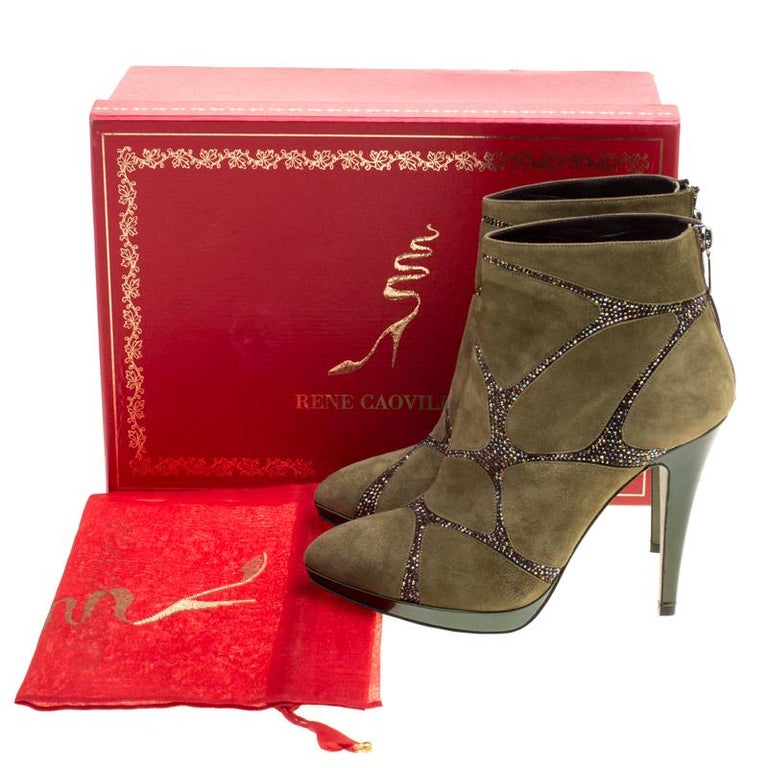 René Caovilla Khaki Green Suede Crystal Embellished Boots Size 39 For Sale 2
