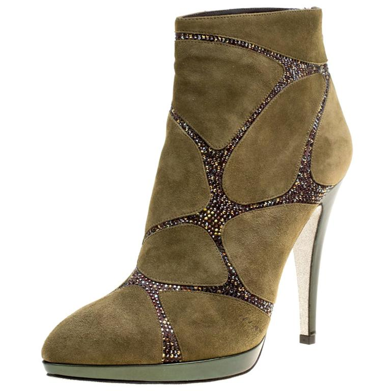 René Caovilla Khaki Green Suede Crystal Embellished Boots Size 39 For Sale