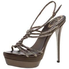 René Caovilla Metallic Crystal Embellished Satin Platform Sandals Size 38