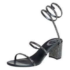 René Caovilla Metallic Dark Grey Crystal Embellished Ankle Wrap Sandals Size 39