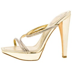 René Caovilla Metallic Gold Crystal Leather Cross Strap Platform Sandals Size 36