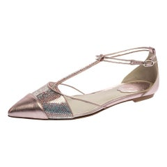 Rene Caovilla Metallic Pink Leather PVC And Glitter Opera Flats Size 36