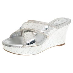 Rene Caovilla Metallic Silver Leather Wedge Platform Slide Sandals Size 37