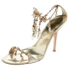 René Caovilla Metallic Suede Crystal Embellished Anklet Open Toe Sandals Size 39