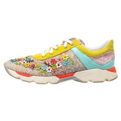 Rene Caovilla Multicolor Lace Suede Embellished Lace Up Sneakers Size 40