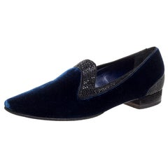 René Caovilla Navy Blue Velvet Crystal Embellished Smoking Slippers Size 35