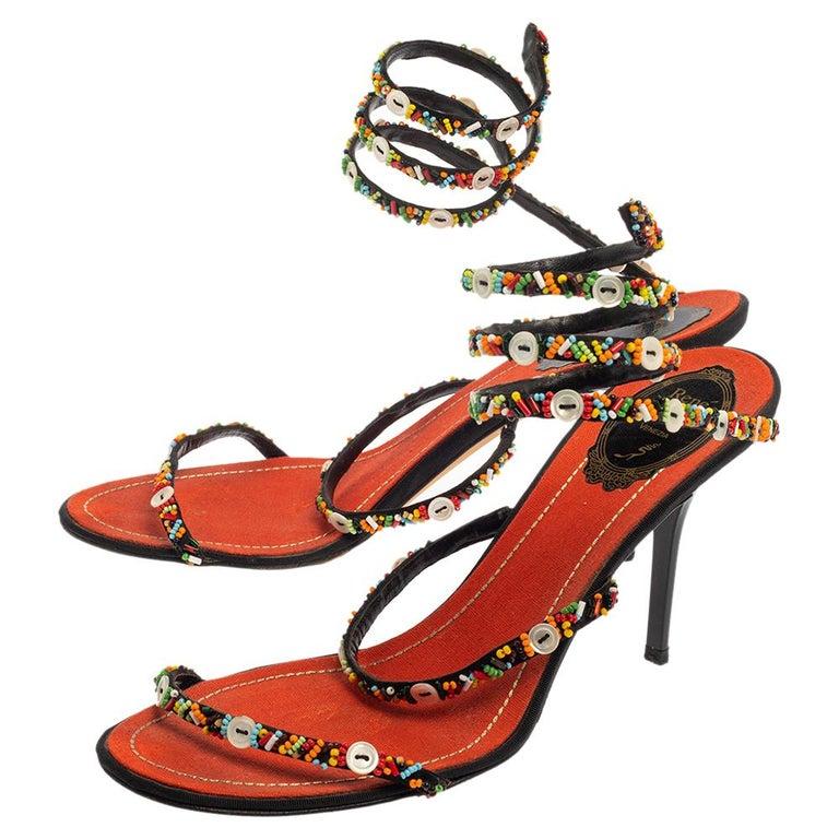 Brown René Caovilla Orange/Black Satin Embellished Ankle Wrap Sandals Size 39.5 For Sale