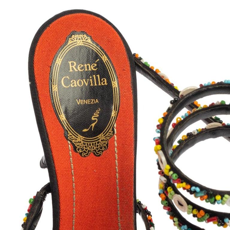 Women's René Caovilla Orange/Black Satin Embellished Ankle Wrap Sandals Size 39.5 For Sale