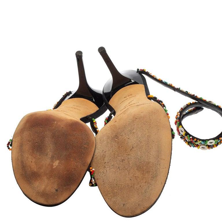 René Caovilla Orange/Black Satin Embellished Ankle Wrap Sandals Size 39.5 For Sale 2
