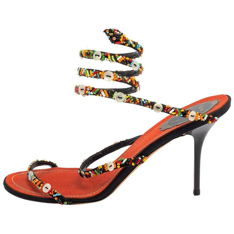 René Caovilla Orange/Black Satin Embellished Ankle Wrap Sandals Size 39.5 For Sale