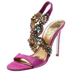 René Caovilla Pink Suede Crystal Embellished Anklet Sandals Size 37