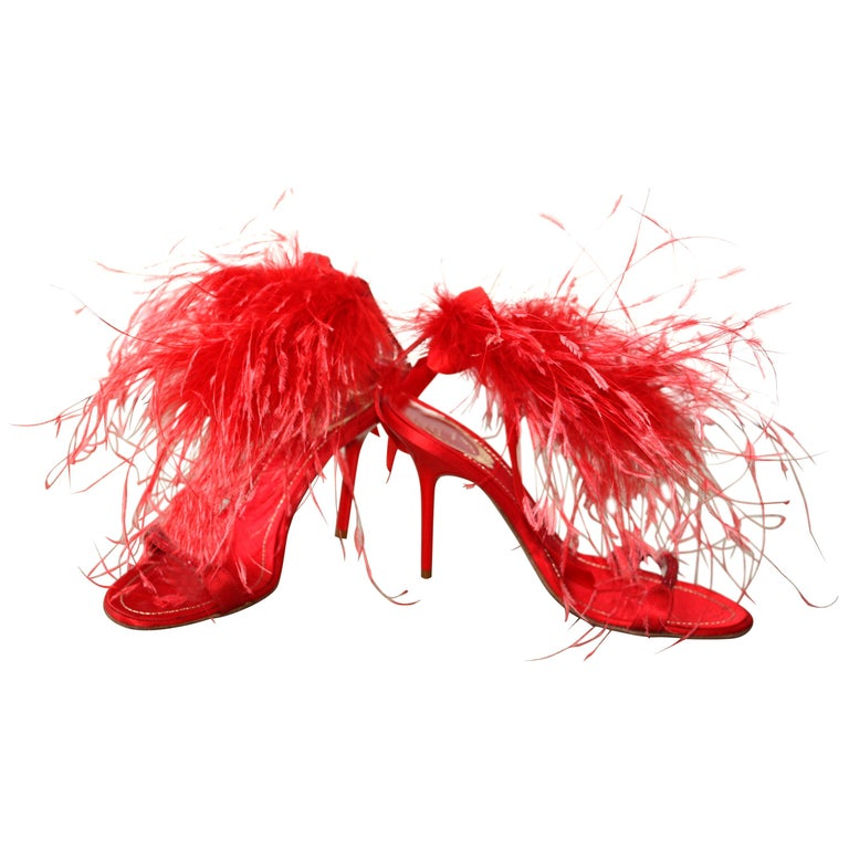 Rene Caovilla RED Satin and Feather Heels Size 37.5 For Sale