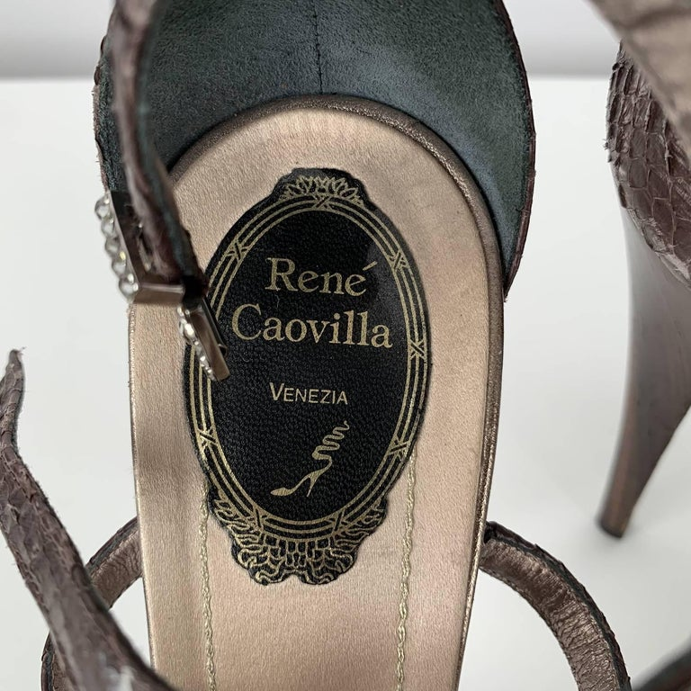 René Caovilla Rhinestones Sandals Heels Size 38 For Sale 5
