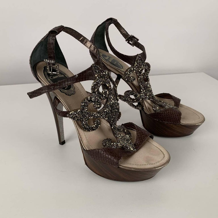 Black René Caovilla Rhinestones Sandals Heels Size 38 For Sale