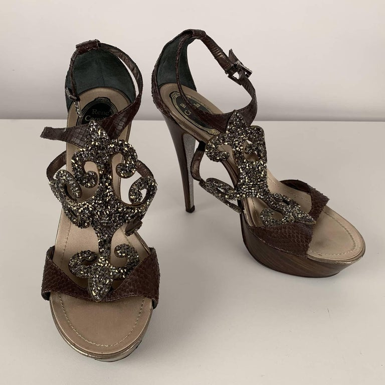 René Caovilla Rhinestones Sandals Heels Size 38 In Excellent Condition For Sale In Rome, Rome
