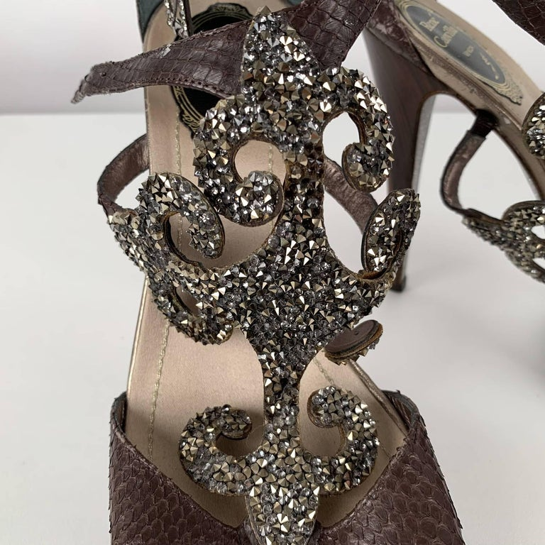 Women's René Caovilla Rhinestones Sandals Heels Size 38 For Sale