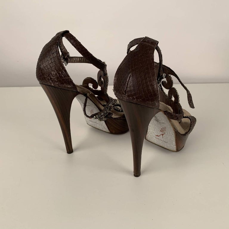 René Caovilla Rhinestones Sandals Heels Size 38 For Sale 3