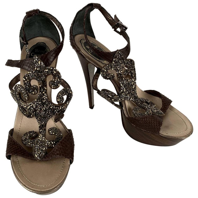 René Caovilla Rhinestones Sandals Heels Size 38 For Sale